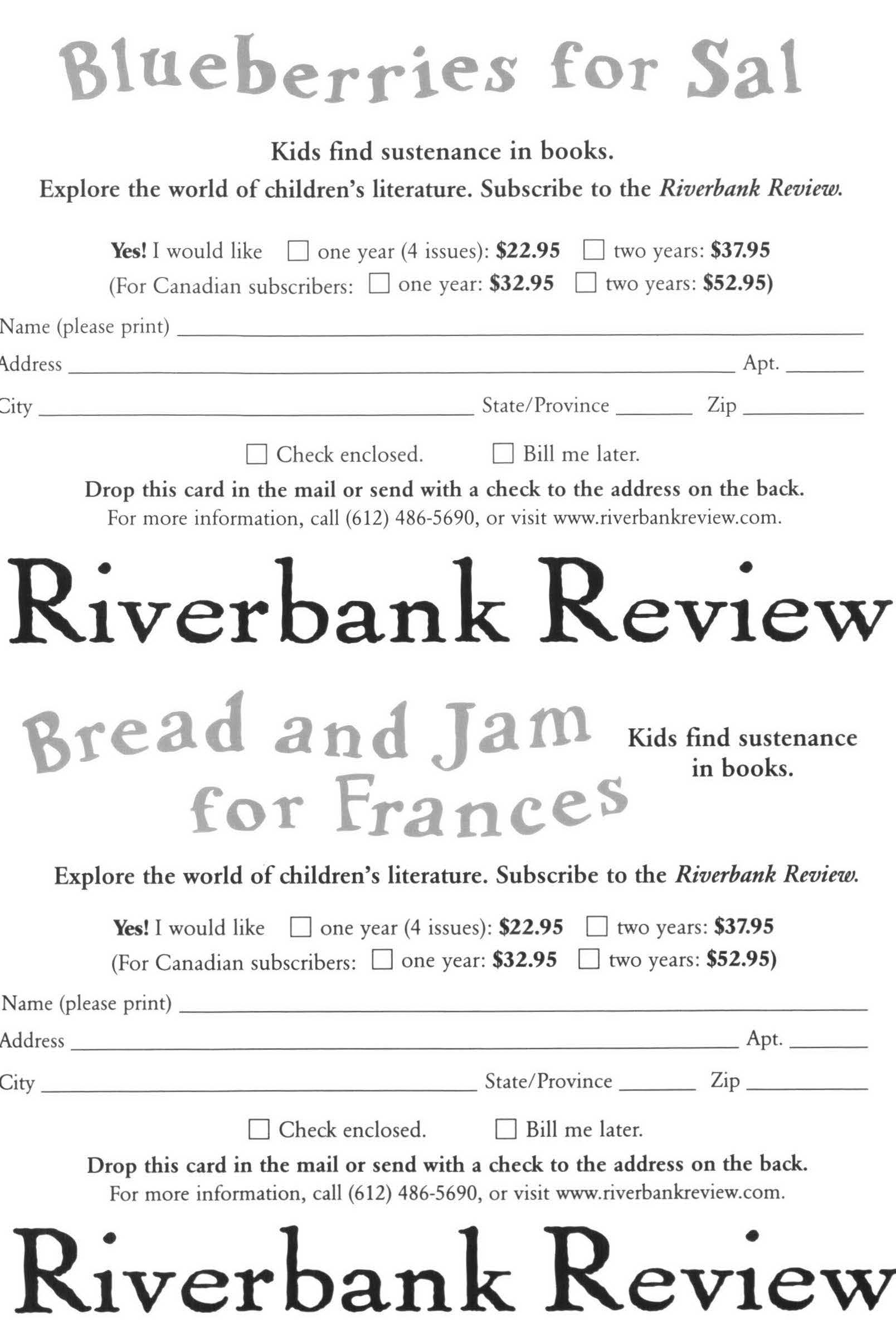 Subscription Cards – Riverbank Review