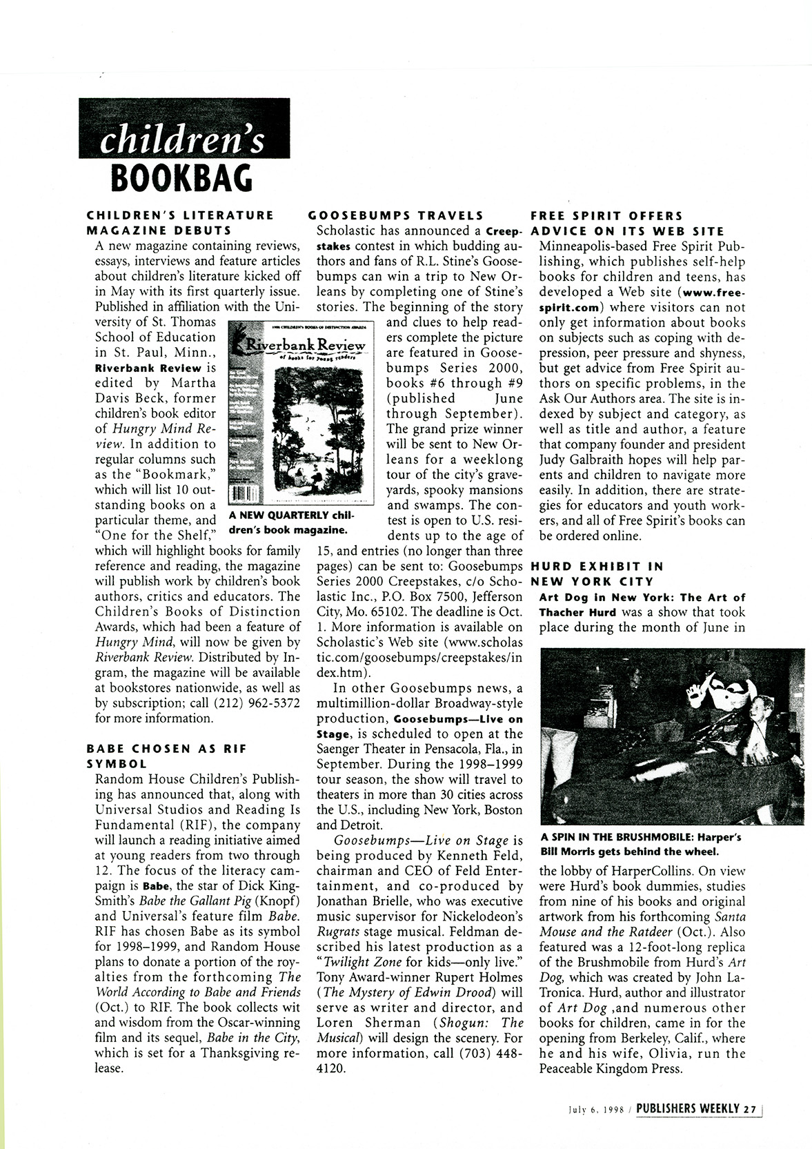 Publishers Weekly piece, when magazine appeared.