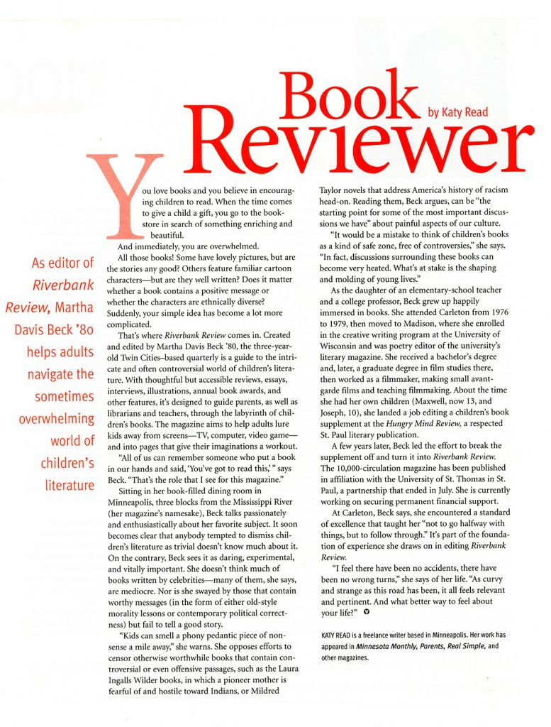 Book Reviewer article about Riverbank Review