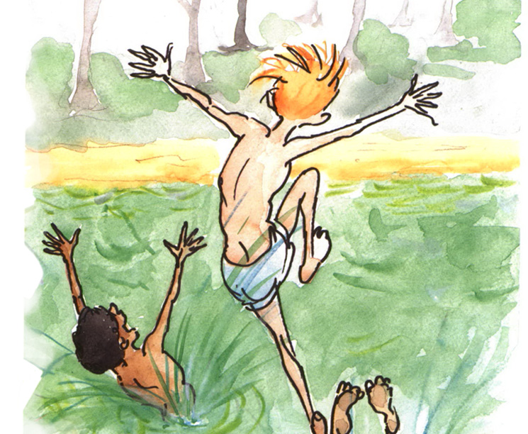 Riverbank Review boys jumping in water watercolor illustration