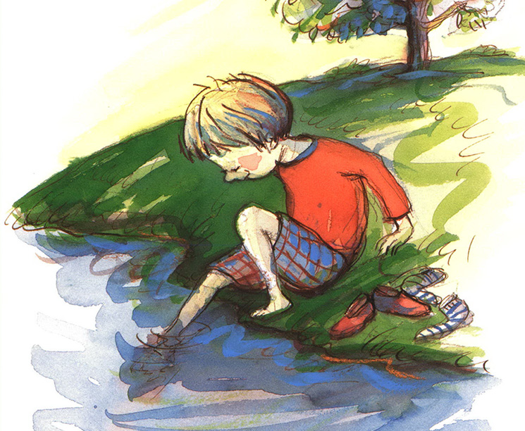 Riverbank Review boy dipping toes in water watercolor illustration